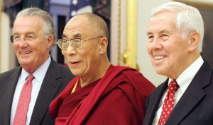 His Holiness the Dalai Lama (C) with Sen. Richard Lugar (R) and Sen. Paul Sarbanes (L) on Capitol Hill, Washington in 2005. Photo - TIM SLOAN_AFP_Getty Images