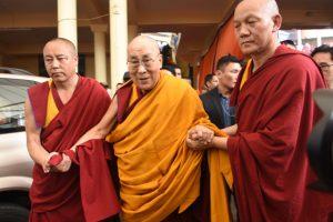 The Dalai Lama arrives at the Thekchen Choling temple for the inaugural scholarly conference on kalachakra on Sunday, May 5, 2019. Phayul photo- Kunsang Gashon