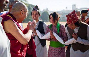 Undated photo of Nepali devotees greeting His Holiness the Dalai Lama. PC - dalailama80.org