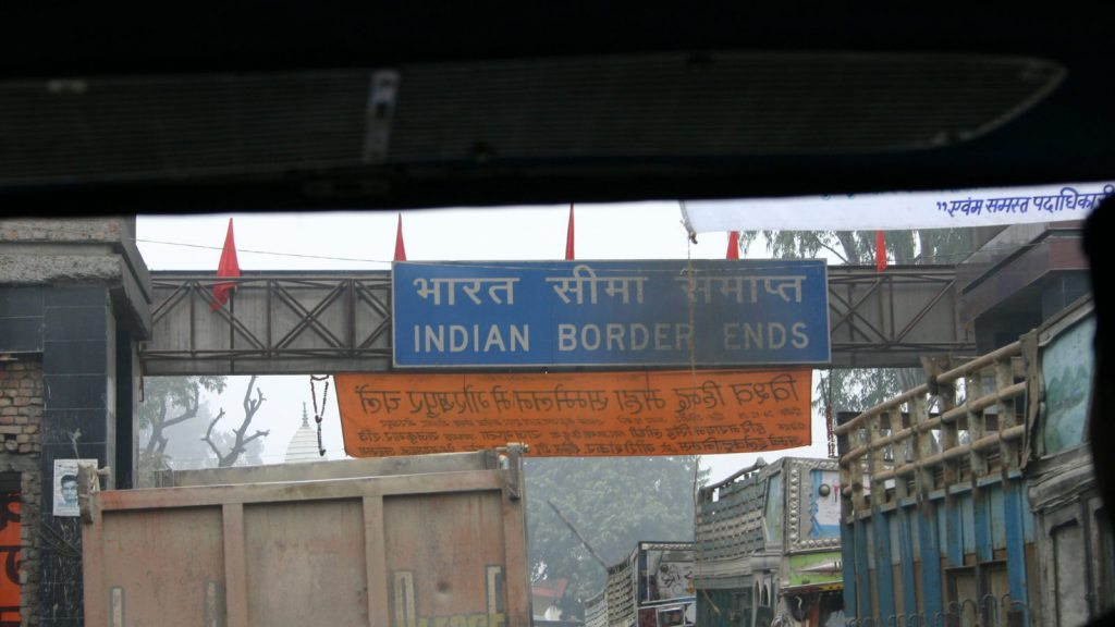 A Signboard at the Indo-Nepal border Photo- South Asian Voices