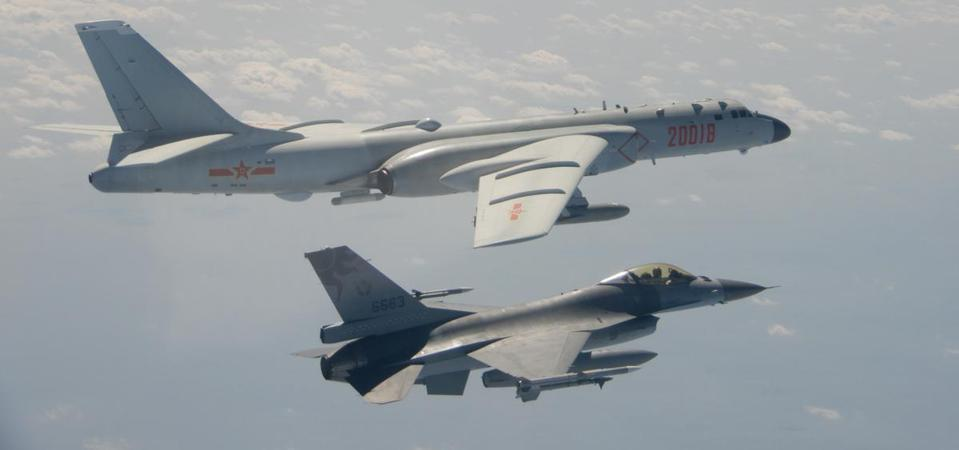 A Taiwanese F-16 intercepts a Chinese H-6 bomber in February 2020 (Taiwanese Ministry of Defence)
