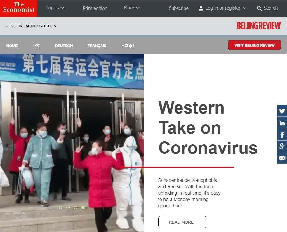 A paid feature by the Beijing Review on The Economist (Photo- The Shooting Messenger)