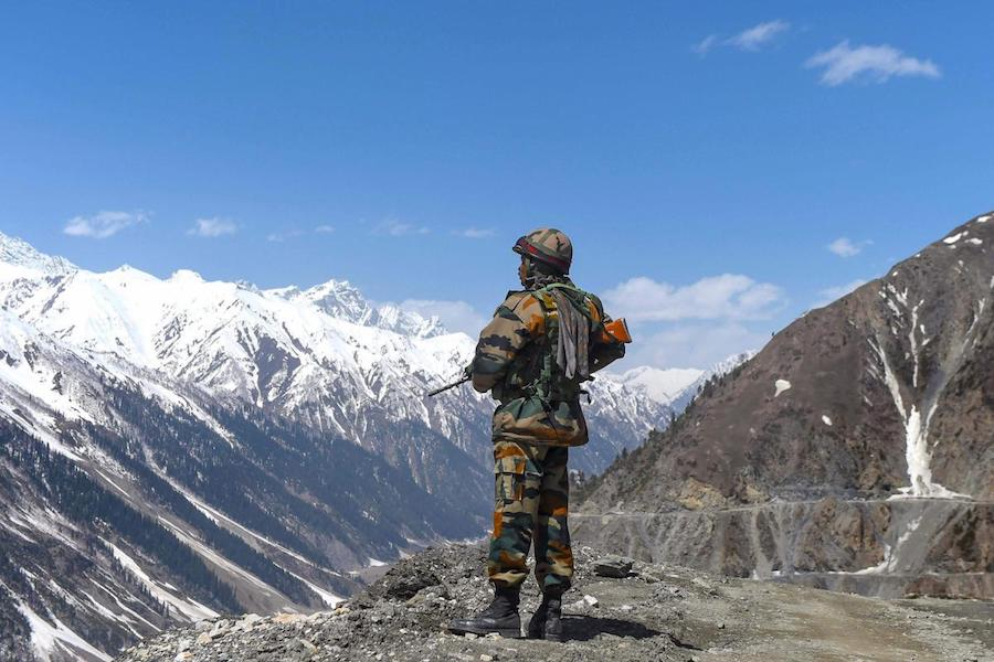An Indian soldier stands gaurd in Ladakh near the Indo-Tibet border (Indian Express)