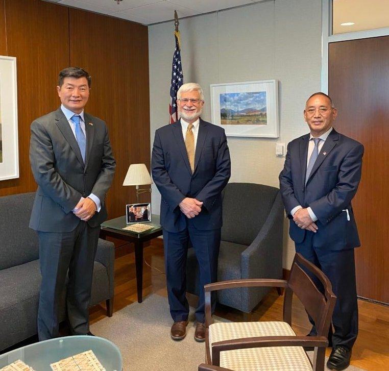 CTA President Dr. Lobsang Sangay, Assistant Sec. Robert Destro and Rep. Ngodup Tsering in Washington DC. (CTA)