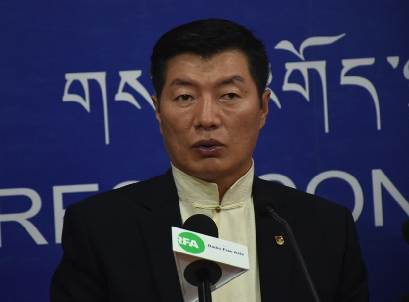 CTA President Dr. Lobsang Sangay at the press conference at Dharamshala on Friday (Phayul photo-Kunsang Gashon)