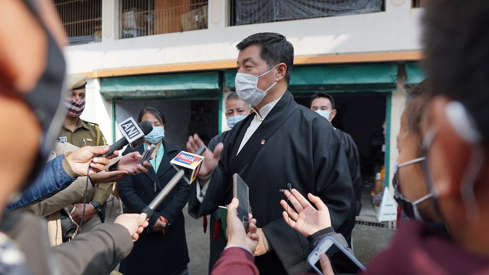 CTA President Dr. Lobsang Sangay speaking to the press on voting day at Dharamshala on Jan. 3, 2021 (Photo- Tenzin Leckphel/Phayul)