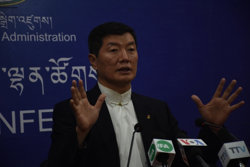CTA President addresses the press about his second US visit on Tuesday at DIIR (Phayul photo- Kunsang Gashon)