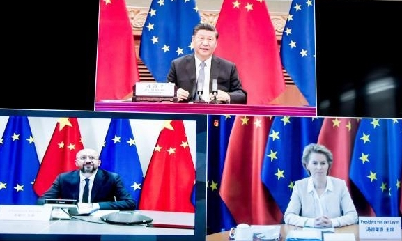 Chinese Prez Xi Jinping, Presient of European Council Ursala Von der Leyen and Charles Michel during the 22nd EU-China summit held virtually on June 22 2020 (europeansting)