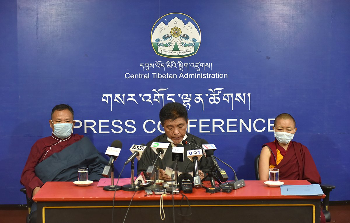 Commissioners of the EC during the press conference at Gangchen Kyishong, Dharamshala on August 5, 2020 (Photo-CTA)