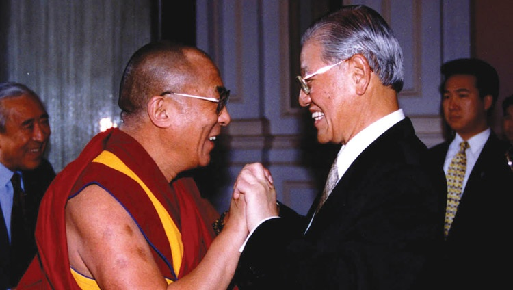 Dalai Lama with then Taiwanese President Lee Teng-hui during his first visit to Taiwan in March of 1997 (Photo- OHHDL)