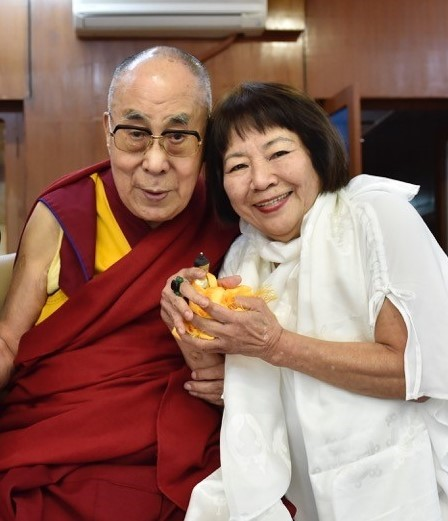 Dr. Kazuko with His Holiness the Dalai Lama in Dharamshala, India