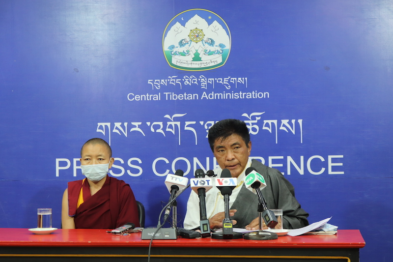 EC Chief commissioner Wangdu Tsering Pesur (R) addresses the press conference on Monday with the elected additional commissioner Geshema Delek Wangmo (L) (Phayul Photo)