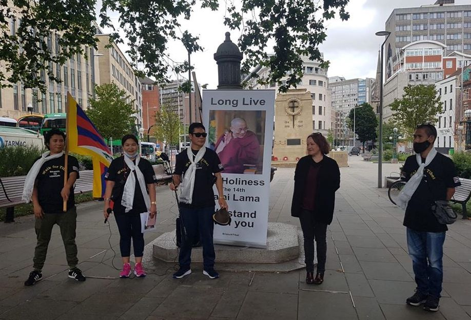 Four Tibetan marchers with MP Kerry McCarthy at the Peace March commencement event in Bristol (Facebook)