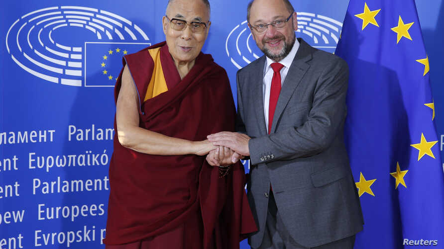 HH the Dalai Lama is welcomed by European Parliament president Schulz in Strasbourg in September 2016 (Reuters)