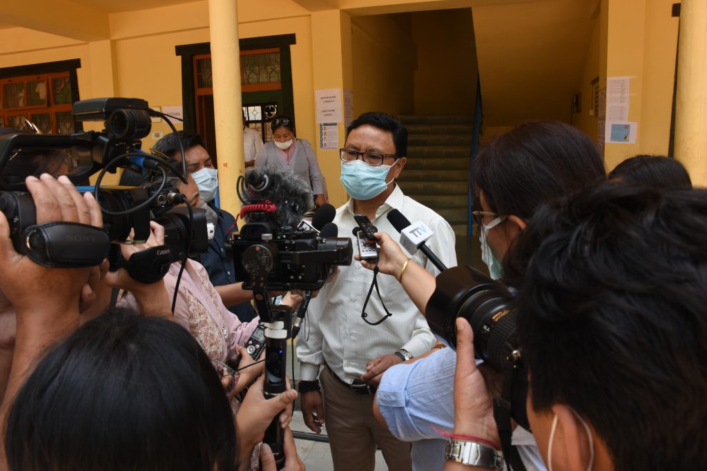 Health Department Secretary Palden Dhondup addresses the press at Sherab Gatsal Lobling (Phayul Photo Kusang Gashon)
