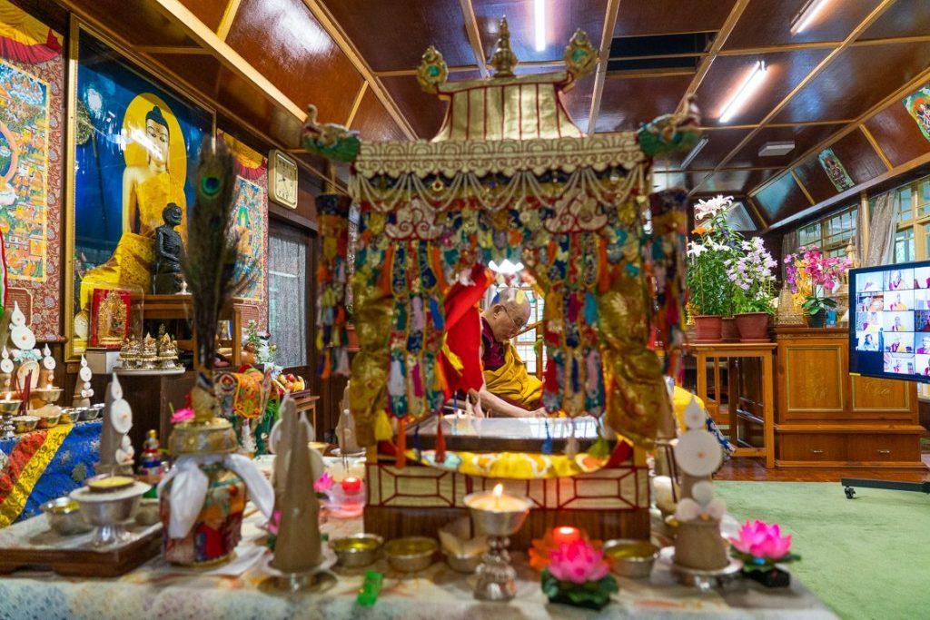 His Holiness the Dalai Lama during the Avalokiteshwara Empowerment on May 30 (Photo OHHDL)