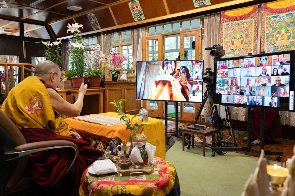 His Holiness the Dalai Lama during the online Avalokiteshvara empowerment at his residence in Dharamshala (Photo- OHHDL)