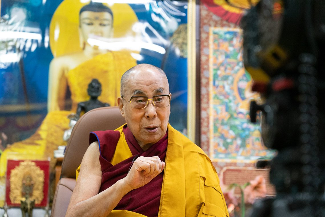 His Holiness the Dalai Lama speaking during his first virtual teaching on May 16 (Photo Courtesy- OHHDL)