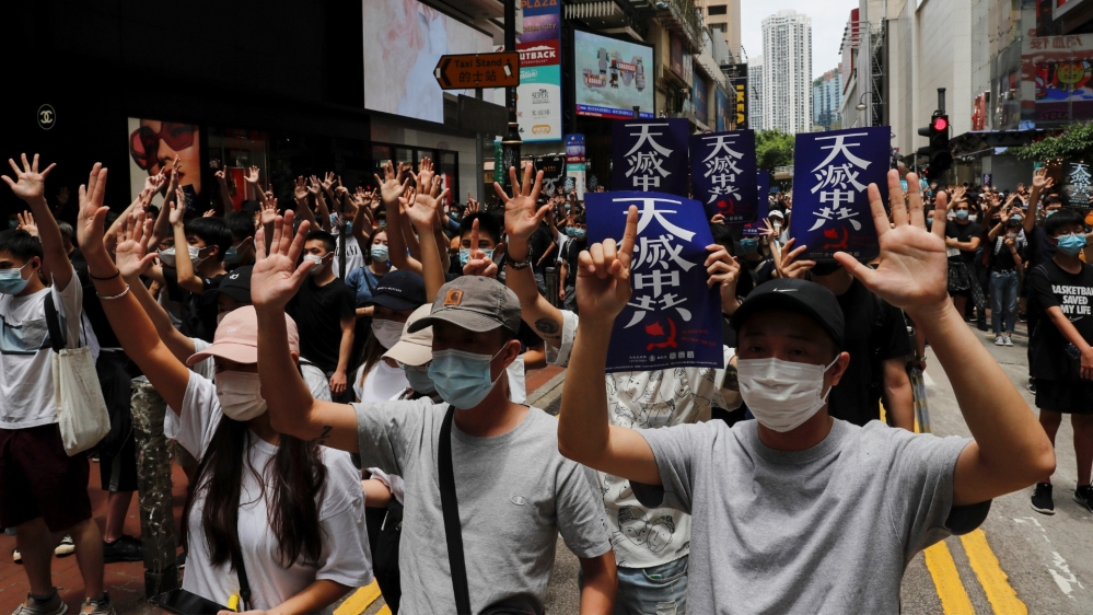 Hong Kong protestors during the demonstrations on Sunday Photo- Tyrone Siu-Reuters