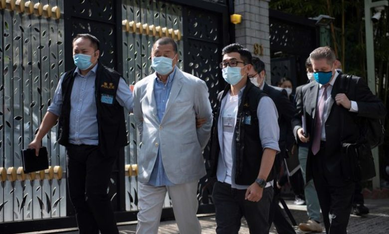 Jimmy Lai after being arrested by the police under the new security law on Monday (Getty images)