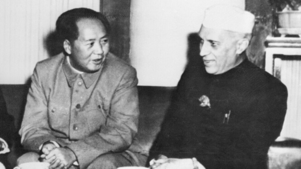 Mao Zedong and Jawaharlal Nehru at Peking in 1954. (Getty Images)