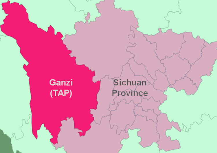 Map of Kardze Tibetan Autonomous Prefecture in the so called Sichaun Province in occupied Tibet. (freetibet.org)