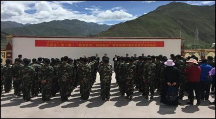 "Military-style training of ""rural surplus laborers"" in the Chamdo region of Tibet, June 2016. (Image source- Tibet's Chamdo, June 30, 2016)"
