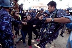 Nepalese police detaining exile Tibetans in Kathmandu in 2011. Photo- The Kathmandu Post