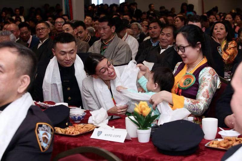 Pema Dorjee Ngawang (Left) along with US Congressman Alexandria Ocasio Cortez (M) as guests at a Tibetan community's Losar gathering in New York City (Facebook)