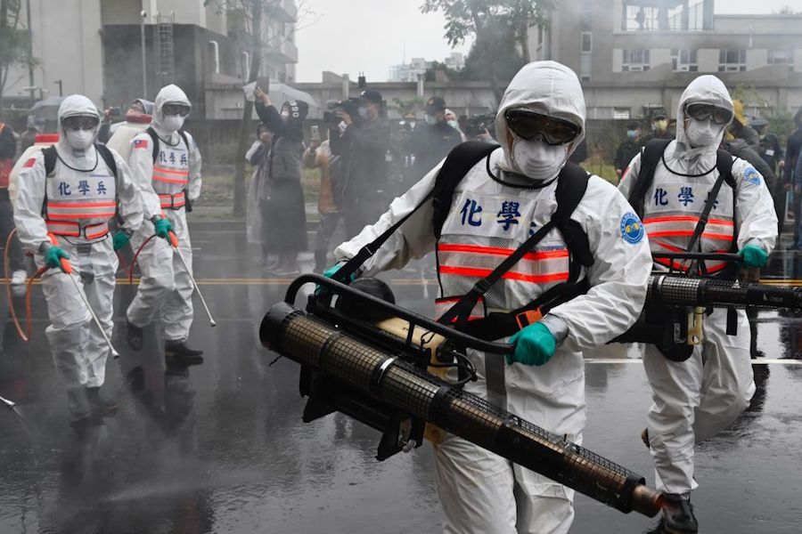 Soldiers from the militarys chemical units take part in a drill organised by the New Taipei City government in Taiwan (Photo by Sam Yeh / AFP)