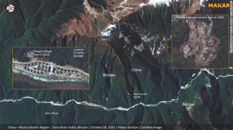 Satellite image of China-Bhutan border in the disputed region of Doklam (Photo- CNN)