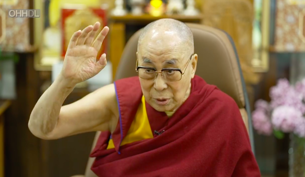 Screen shot of the Dalai Lama during the virtual conversation with noted author Pico Iyer on June 17, 2020