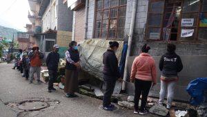 Social distancing by Tibetans in McLeod Ganj. April 21, 2020. Phayul photo-Tenzin Leckphel.