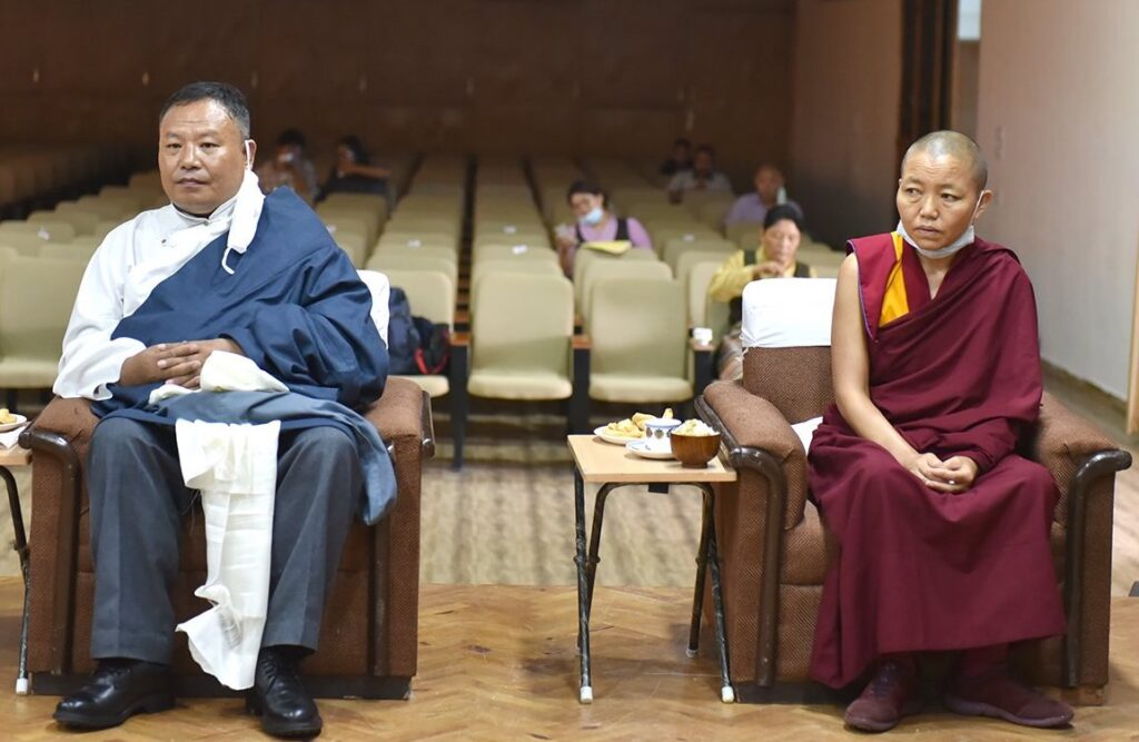 Sonam Gyaltsen and Geshema Delek Wangmo during the oath ceremony at the CTA auditorium in Gankyi (Photo CTA)
