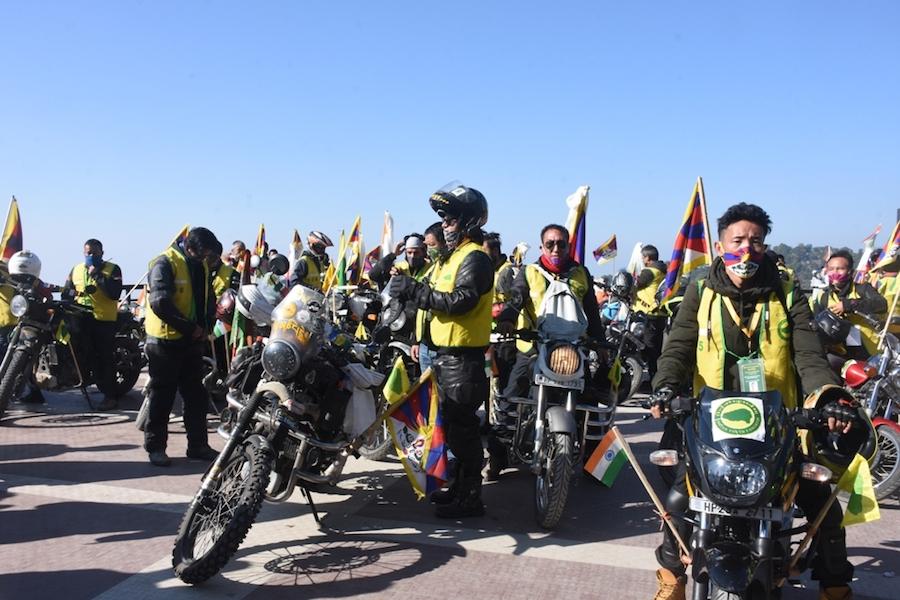 TYC Bike rally starts from McLeod Ganj, Dharamshala to Kinnaur on Wednesday (Phayul Photo- Kunsang Gashon)