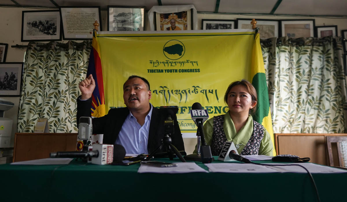 TYC President Gonpo Dhundup and SFT India National Director Rinzin Choedon during the press conference at Dharamshala. Phayul photo- Tenzin Leckphel