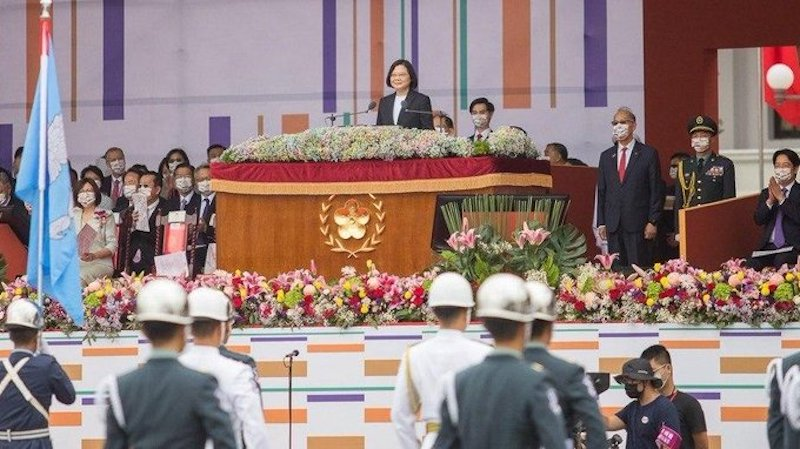 Taiwanese President Tsai Ing-wen addressing the Taiwan National Day function in Taipei on Oct 10 (Photo- Twitter)