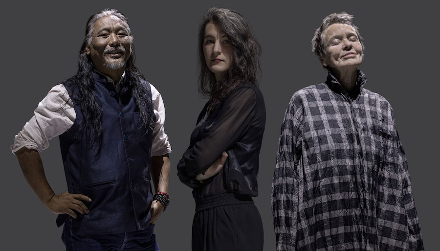 Tenzin Choegyal (L), Jesse Paris Smith (C) and Laurie Anderson (R) on the cover of 'Songs from the Bardo' album