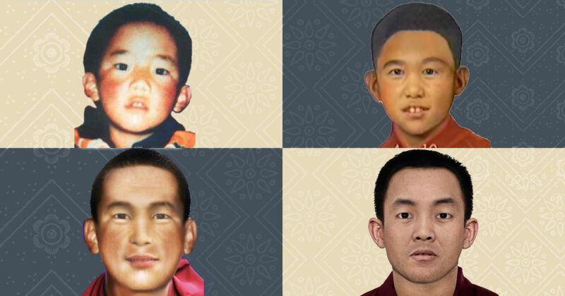 The original photograph of the Panchen Lama, along with age progressions at ages 10, 26, and 30 (ITN)