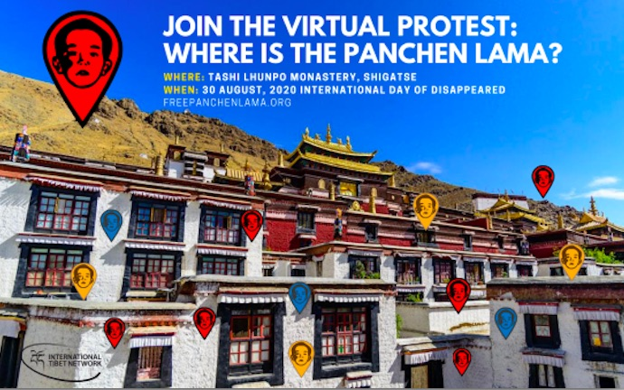 The virtual protest seeks to highlight the dissapeared Tibetan religious figure's plight after 25 years since his kidnapping by the Chinese government