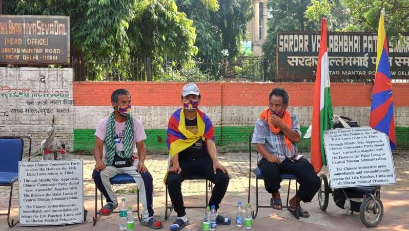 Three Tibetan marchers conclude their peace march at Jantar Mantar in New Delhi on Friday (Photo- Facebook)