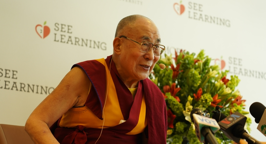 Tibetan leader His Holiness the Dalai Lama at the global launch of SEE learning program in New Delhi in April 2019 (BW Businessworld)