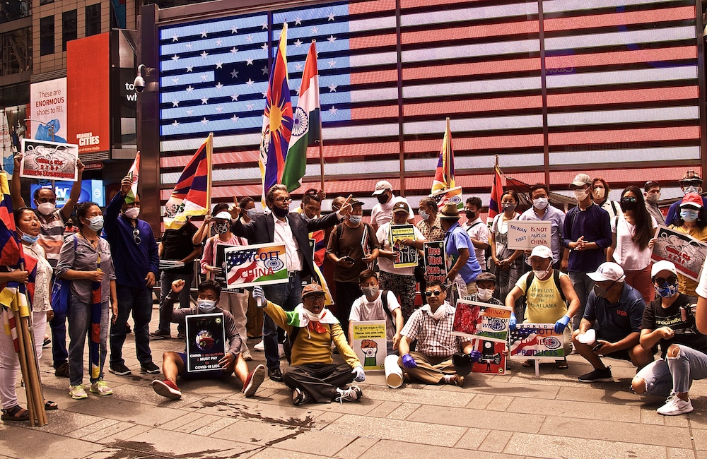 Tibetans, Indians and Taiwanese protest against China at Times Square, NY (Photo- SFT)
