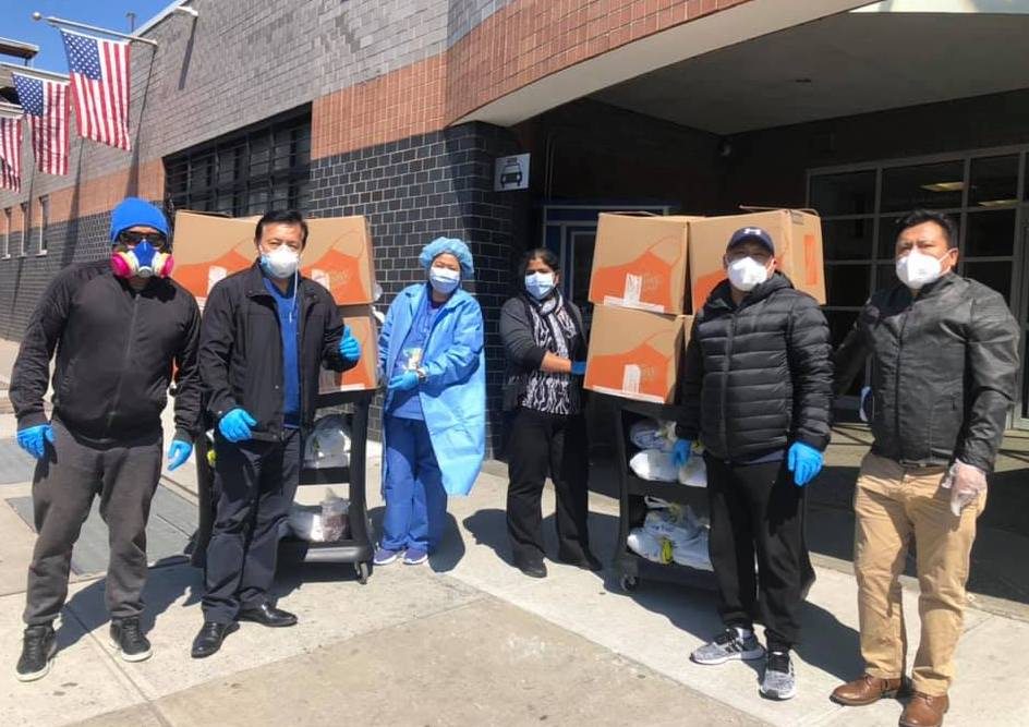 Tibetans delivering home-cooked meals to hospitals in NY city. Photo -The Tibetan Community of NY&NJ