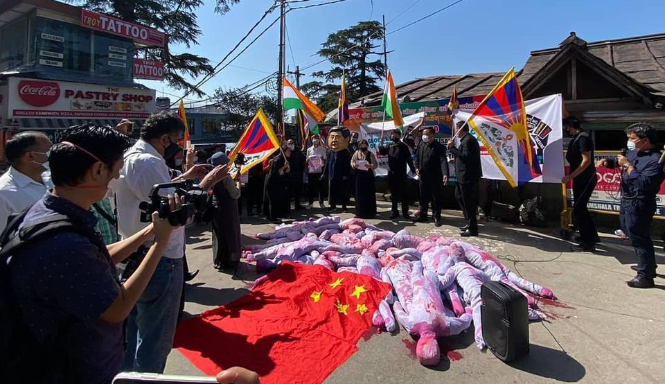 Tibetans in Dharamshala, India protest China's human rights abuses on the 71st PRC anniversary (Photo- SFT)