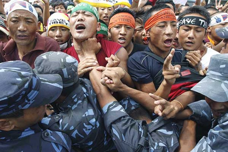 Tibetans in Nepal manhandled by Nepalese police (Photo- Asia News)