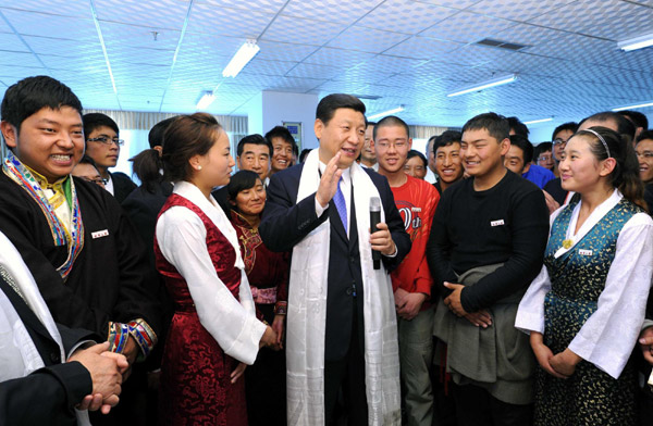 While systemic discrimination is common place in Tibet, official channels portray a rosy image. Then Vice President Xi Jinping visits Tibet University in TAR back in 2011. (photo-China daily)