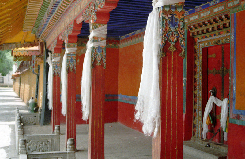 White scarfs tied on wooden pillars in the corridors of the Norbulinga palace in Lhasa (Photo- Vijay Kranti)